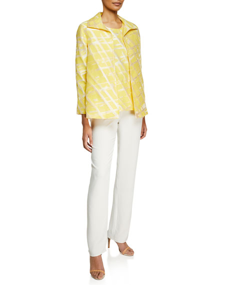 Image 4 of 4: Caroline Rose Plus Size Suzette Crepe Straight-Leg Pants