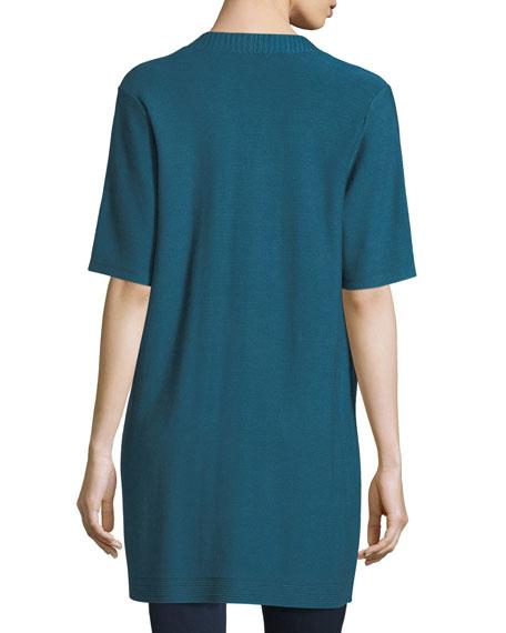 Eileen Fisher Long Simple Half-Sleeve Cardigan