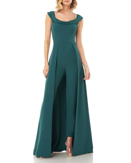 Image 4 of 5: Kay Unger New York Anais Stretch Crepe Jumpsuit with Skirt Overlay