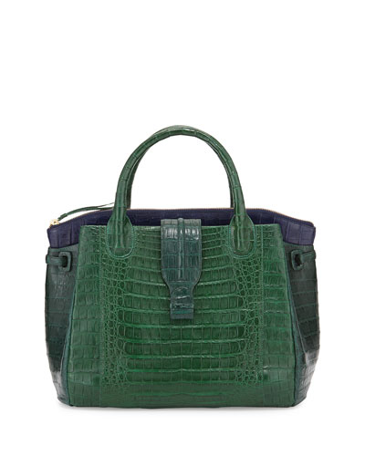 New Christina Crocodile Tote Bag, Green/Navy
