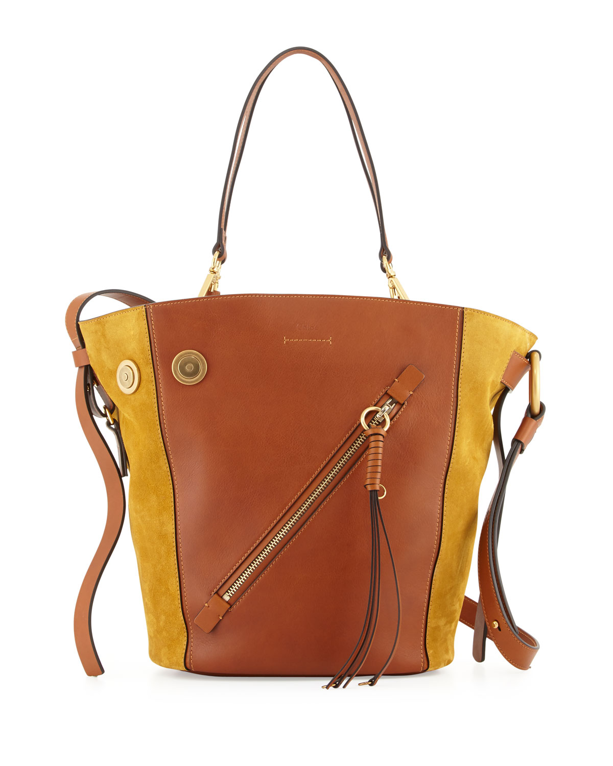 Myer Medium Leather Suede Tote Bag