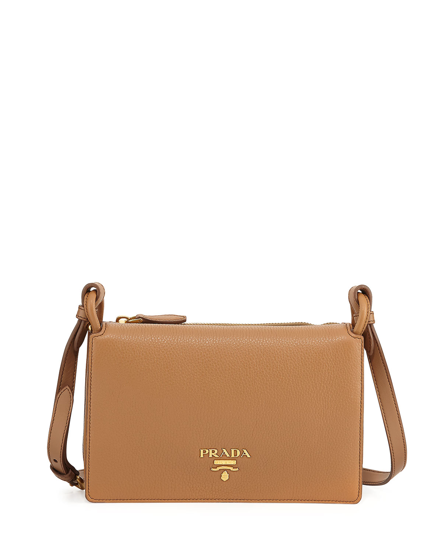 9cce02c8db03 Prada Vitello Daino Double-Gusset Shoulder Bag | Neiman Marcus
