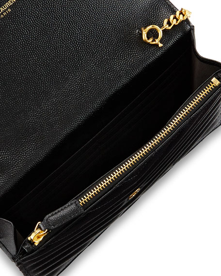 Saint Laurent Monogram YSL Chevron Quilted Wallet on Chain