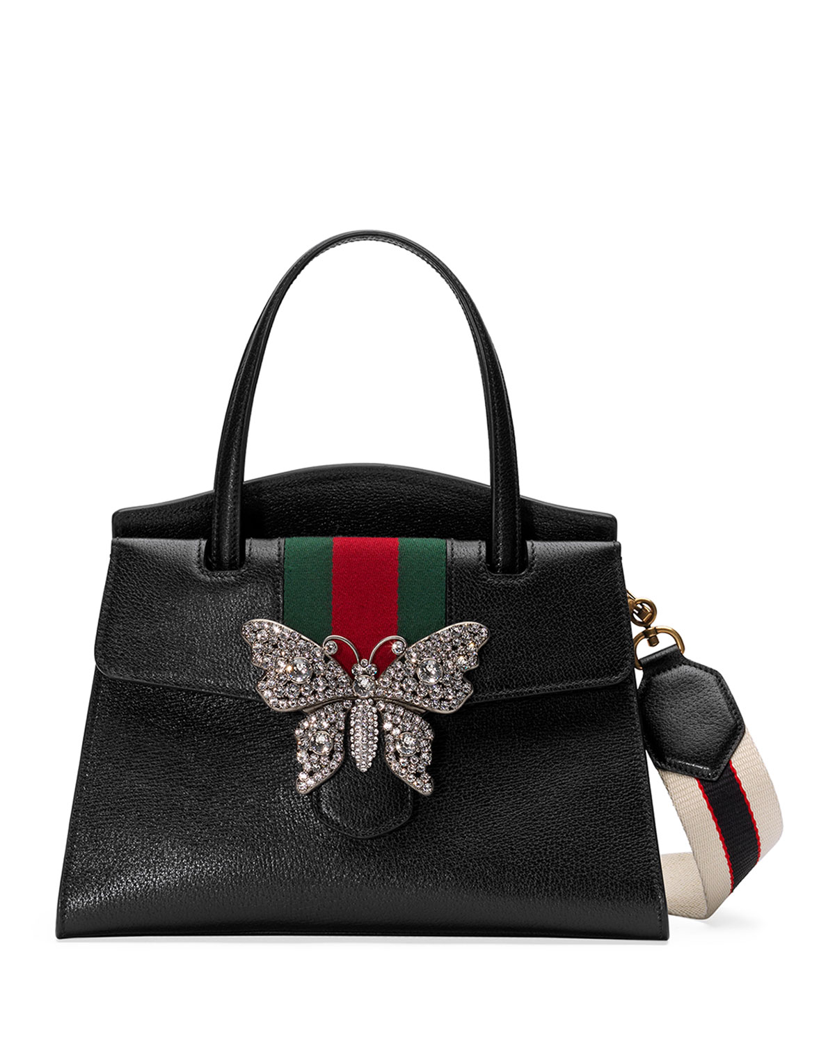 395b79a4a63b1d Gucci Linea Totem Medium Leather Top-Handle Bag with Butterfly & Web Strap