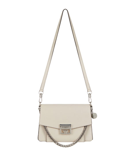 Givenchy GV3 Medium Pebbled Leather Shoulder Bag - Silvertone Hardware