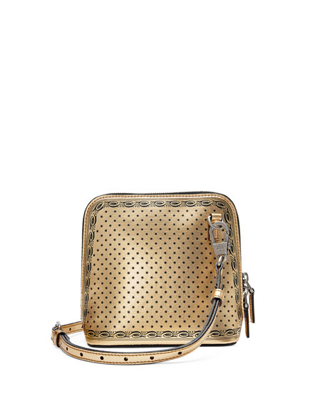 Guccy Script Dome Metallic Leather Crossbody Bag