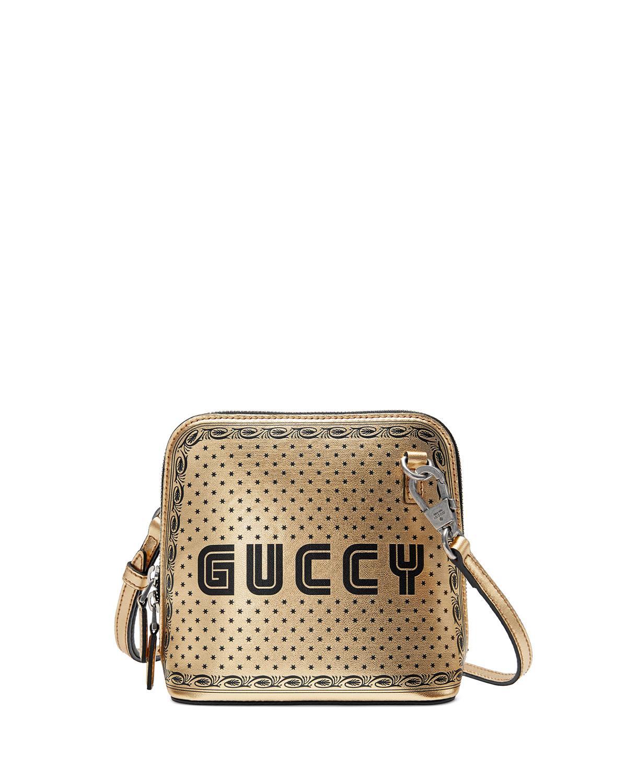 620255d7e77 Gucci Guccy Script Dome Metallic Leather Crossbody Bag
