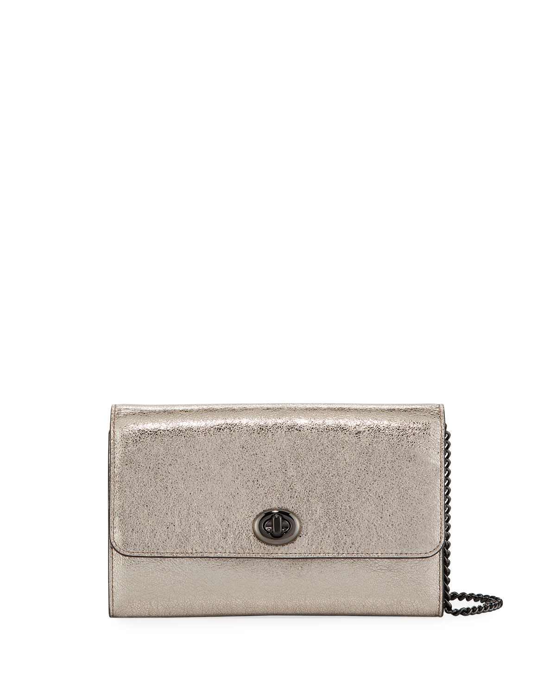 8163a02633e9b Coach 1941 Metallic Leather Turn-Lock Crossbody Bag | Neiman Marcus