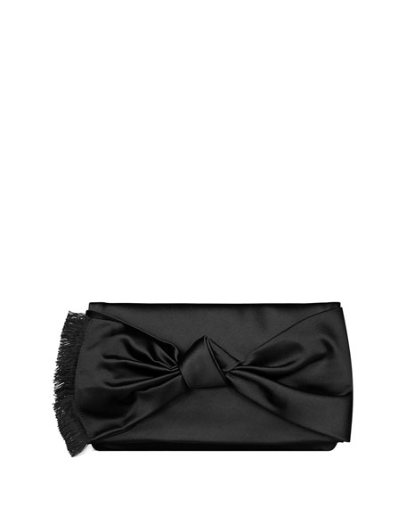Image 2 of 2: Eleanor Satin Bow Clutch Bag