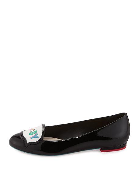 Boss Lady Patent Ballerina Flat, Black