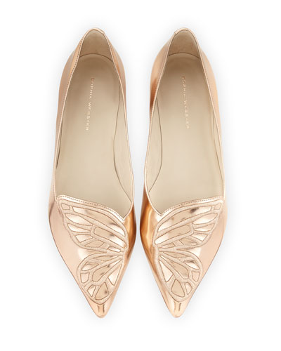 Bibi Butterfly Embroidered Flat, Gold