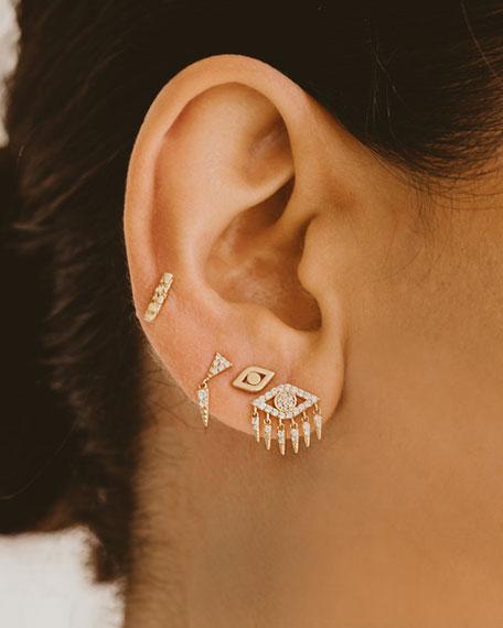Small 14k Gold Diamond Bar Single Stud Earring