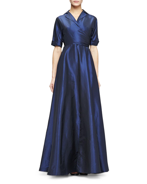 Lela Rose Half-Sleeve Faux-Wrap Gown | Neiman Marcus