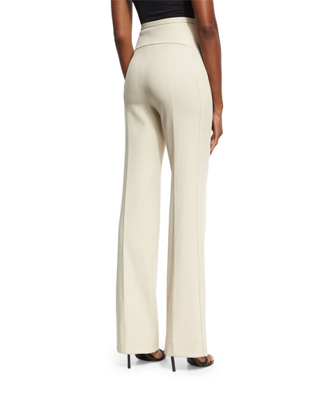 Contour-Yoke Virgin Wool Straight-Leg Pants