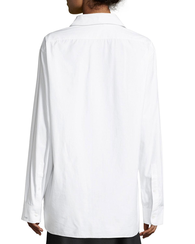 The Row Juliette Embroidered Sea Island Cotton Shirt Neiman Marcus
