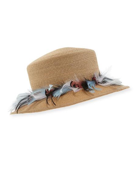Gigi Burris Braided Straw Feather Plume Hat
