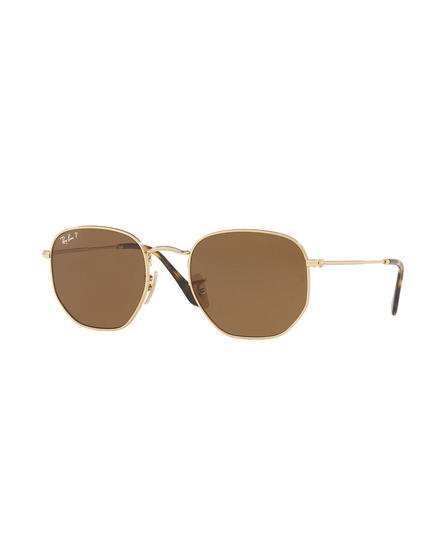 7dd99618530 Ray-Ban Polarized Hexagonal Metal Sunglasses