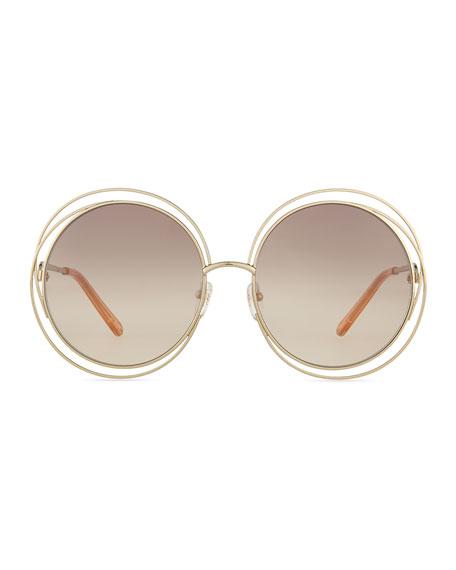 Chloe Carlina Round Wire Metal Sunglasses