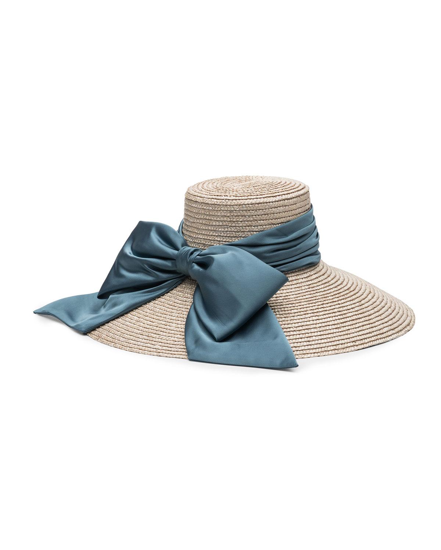 6fadd218be9d4 Eugenia Kim Mirabel Textured Straw Sun Hat w  Satin Bow