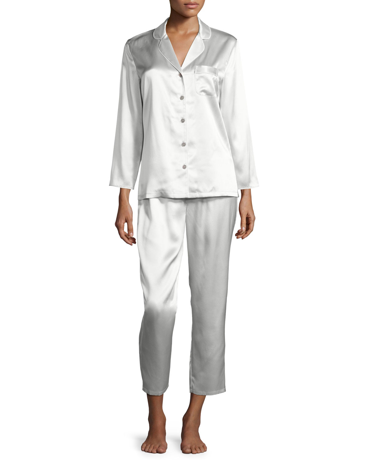 Neiman Marcus Satin Silk Two-Piece Pajama Set  9d31f3465
