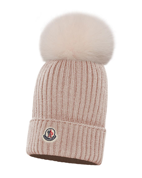 298e0f15675 Moncler Kids  Berretto Ribbed-Knit Beanie Hat w  Fur Pompom
