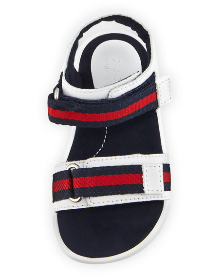 Gucci Leather Grip-Strap Sandal w/ Web Trim, Toddler Sizes 4-10