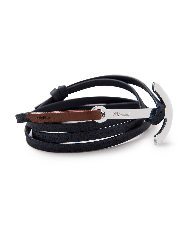 Men S Two Tone Leather Anchor Bracelet