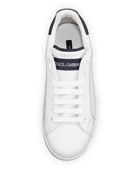 Image 2 of 4: Dolce & Gabbana Men's Portofino Two-Tone Leather Sneakers