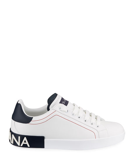 Image 3 of 4: Dolce & Gabbana Men's Portofino Two-Tone Leather Sneakers