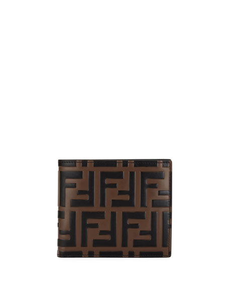 Image 1 of 3: Men's FF Embossed Leather Bifold Wallet