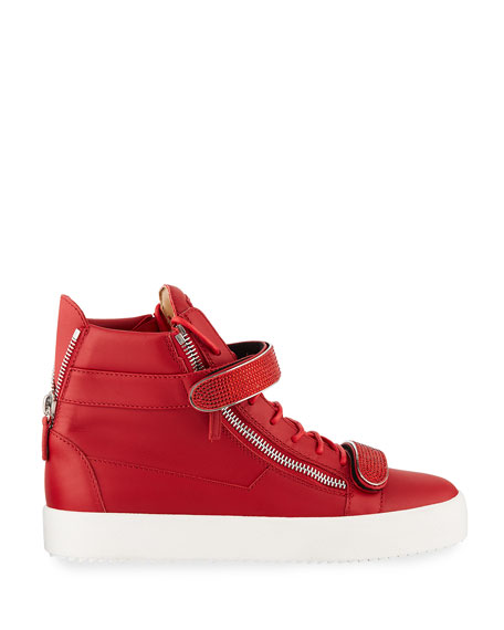 Image 2 of 4: Giuseppe Zanotti Men's Double Nailhead-Bar High-Top Leather Sneakers