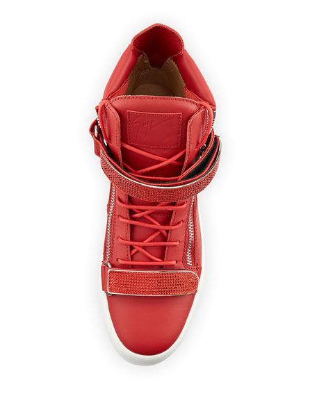 Image 3 of 4: Giuseppe Zanotti Men's Double Nailhead-Bar High-Top Leather Sneakers