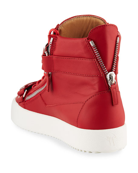 Image 4 of 4: Giuseppe Zanotti Men's Double Nailhead-Bar High-Top Leather Sneakers