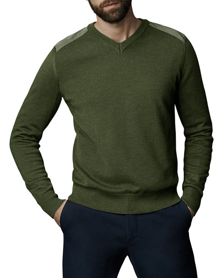 Canada Goose Sweaters McLeod V-Neck Sweater w/ Nylon Shoulders