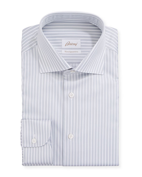 Brioni Men's Ventiquattro Striped Dress Shirt