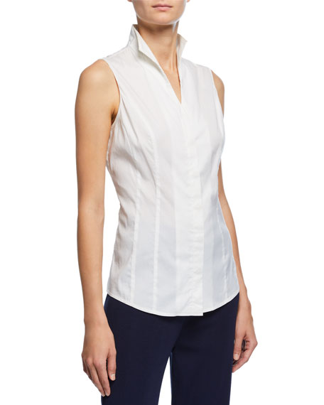 Misook Textured Square One-Button Jacket, Sleeveless