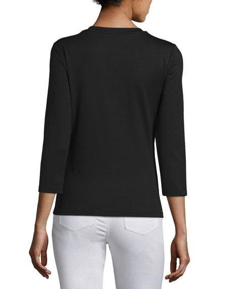 Stretch Cotton 3/4-Sleeve V-Neck Tee