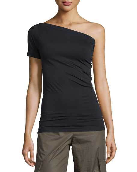 Helmut Lang One-Shoulder Stretch-Knit Tee & Cotton Mid-Rise