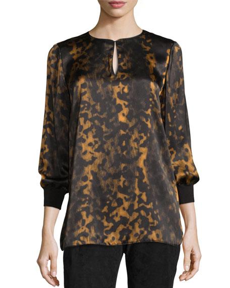 Lafayette 148 New York Kelsey Leopard-Print Split-Neck Blouse, Black/Multi