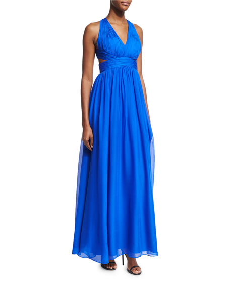 Aidan Mattox Shirred Silk Chiffon Cutout Gown