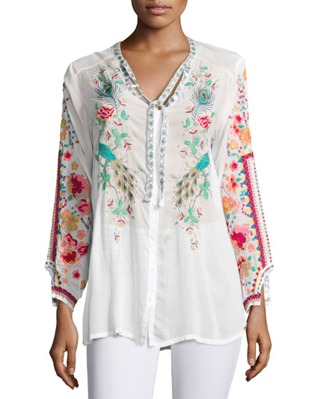 Peacock Embroidered Georgette Top
