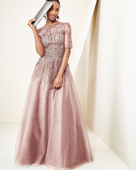 Beaded Lace & Tulle Gown