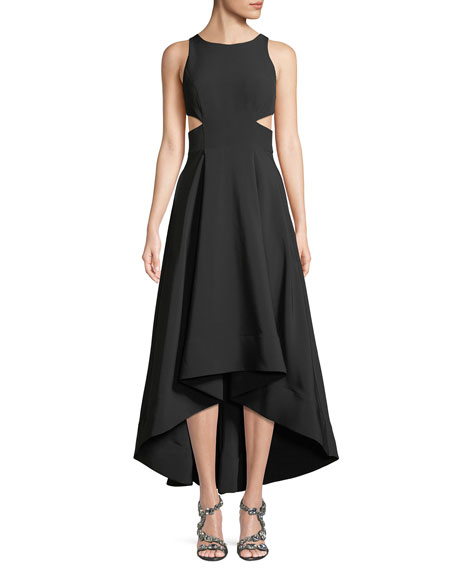 Image 1 of 3: Cutout Stretch Crepe High-Low Gown