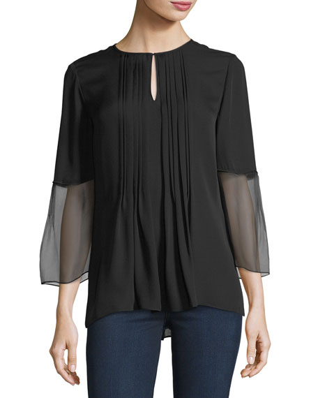 Orion 3/4-Sleeve Pleated Silk Blouse