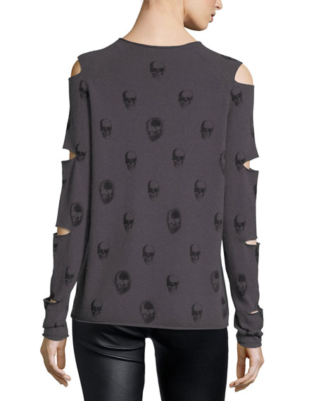 Skull-Print Cashmere Slit-Sleeve V-Neck Sweater