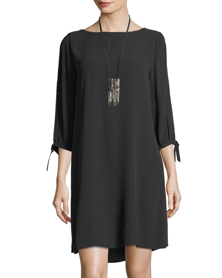 Silk Georgette Tie-Sleeve Shift Dress, Plus Size
