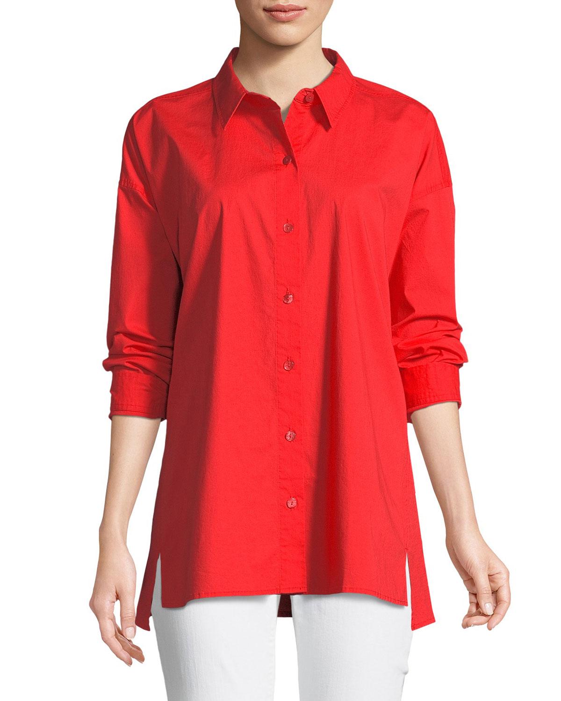 f340718aba3 Eileen Fisher Organic Cotton Poplin Long-Sleeve Swing Top