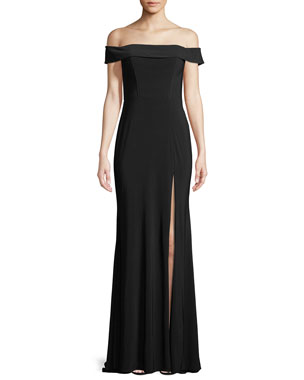 5cde84c0d36 Faviana Jersey Off-the-Shoulder Gown w/ Slit
