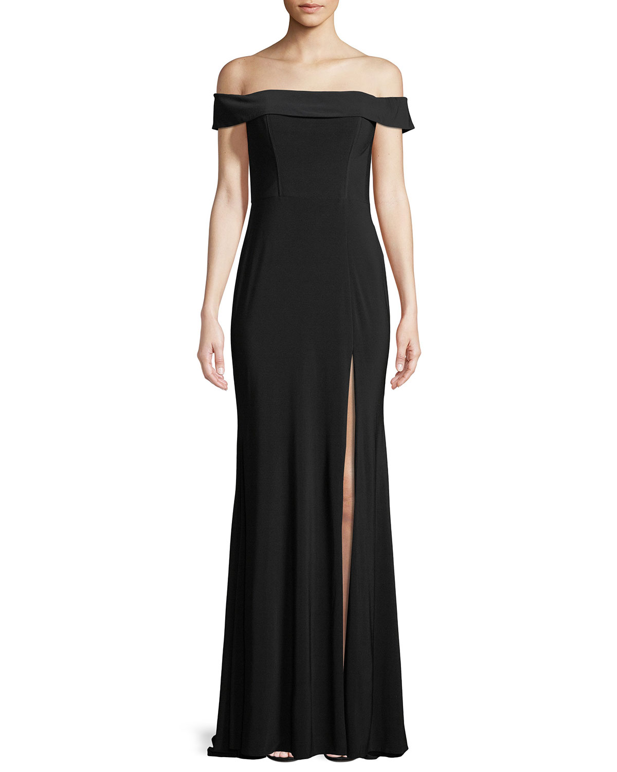 37fa5f6032f Faviana Jersey Off-the-Shoulder Gown w  Slit