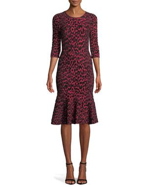 3e1a6020d7abe4 Milly Textured Leopard Animal-Print Mermaid Midi Dress